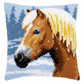 Cross Stitch Cushion Kit: Horse & Snow by Vervaco