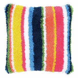 Latch Hook Kit: Cushion: Bright: Stripes