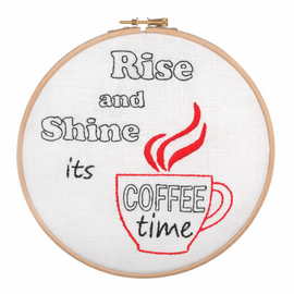 Embroidery Hoop Kit: Rise and Shine, It's Coffee Time By Anchor