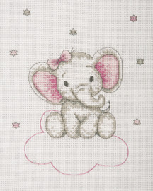 Counted Cross Stitch Kit: Baby Sets: Girl Elephant By Anchor