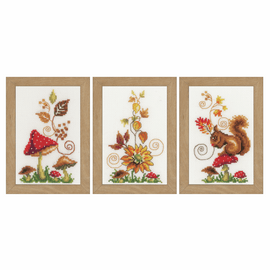 Counted Cross Stitch Kit: Miniatures: Autumn Idyll: Set of 3 By Vervaco