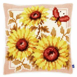 Cross Stitch Kit: Cushion: Sun Flowers By Vervaco