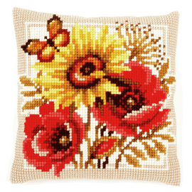 Cross Stitch Kit: Cushion: Poppies and Sunflowers by Vervaco