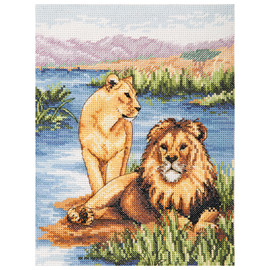 Counted Cross Stitch Kit: Essentials: Lions  By Anchor