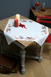 Counted Cross Stitch Kit: Tablecloth: Long-Tailed Tits & Red Berries By Vervaco