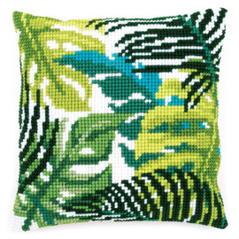 Chunky Cross Stitch Kit: Cushion: Botanical Leaves By Vervaco