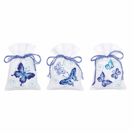 Counted Cross Stitch Kit: Pot-Pourri Bag: Blue Butterflies: Set of 3 By Vervaco