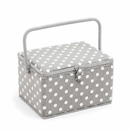 Grey Spot Large Sewing Box Hobby Gift