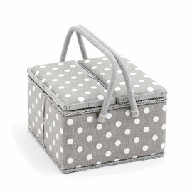 Grey Spot Large Twin Lid Sewing Box Hobby Gift