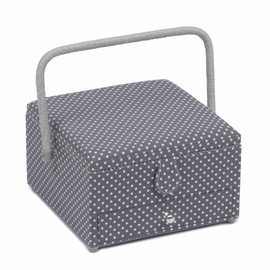 Grey Spot Large Square Sewing Basket Hobby Gift