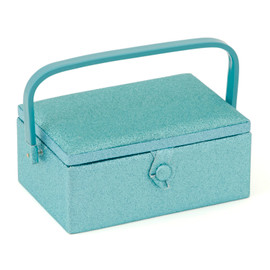 Blue Glitter Medium sewing Box Hobby Gift