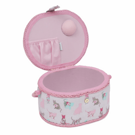 Cats Pink Rimmed Small Sewing Box Hobby Gift