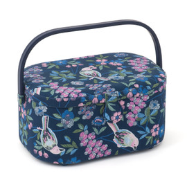 Floral Birds Oval Sewing Box Hobby Gift