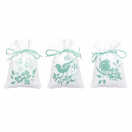 Counted Cross Stitch Kit: Pot-Pourri Bag: Birds and Blossoms: Set of 3 By Vervaco