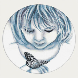 Girl With butterfly Cross Stitch Kit by RTO