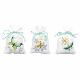 Counted Cross Stitch Kit: Pot-Pourri Bag: Butterflies (Set of 3) By Vervaco