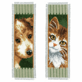 Counted Cross Stitch: Bookmarks: Cat and Dog: Set of 2 By Vervaco