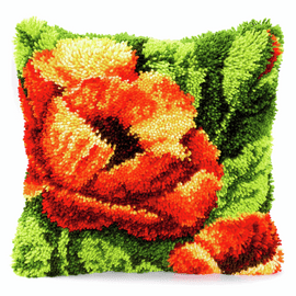 Latch Hook Kit: Cushion: Poppies 2 By Vervaco
