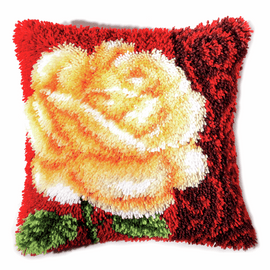 Latch Hook Kit: Cushion: Rose By Vervaco