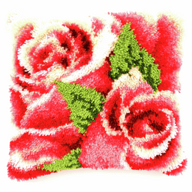 Latch Hook Kit: Cushion: Pink Roses By Vervaco
