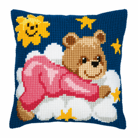 Chunky Cross Stitch Kit: Cushion: Pink Teddy