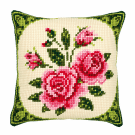 Chunky Cross Stitch Kit: Cushion: Pink Roses
