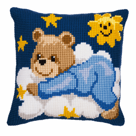 Cross Stitch Kit: Cushion: Blue Teddy By Vervaco