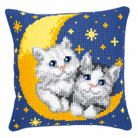 Cross Stitch Kit: Cushion: Moon And Kittens By Vervaco