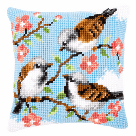 Cross Stitch Kit: Cushion: Birds Between Flowers