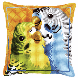 Cross Stitch Kit: Cushion: Budgies