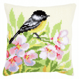 Cross Stitch Cushion Kit: Tit & Blossoms by Vervaco