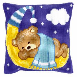 Cross Stitch Kit: Cushion: Teddy on the Moon: Blue By Vervaco