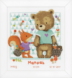 Counted Cross Stitch Kit: Bear and Squirrel by Vervaco