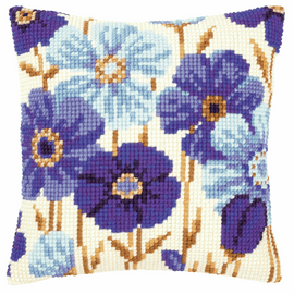 Cross Stitch Kit: Cushion: Blue Flowers By Vervaco