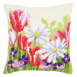 Cross Stitch Kit: Cushion: Spring Flowers By Vervaco