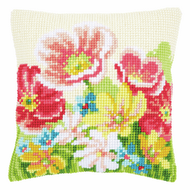 Cross Stitch Kit: Cushion: Summer Flowers By Vervaco