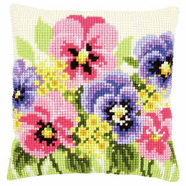 Cross Stitch Cushion Kit: Violets By Vervaco