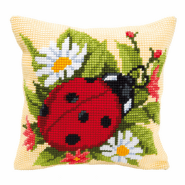Chunky Cross Stitch Kit: Cushion: Ladybird By Vervaco