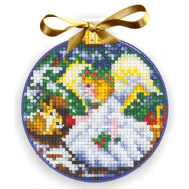 CHRISTMAS BALLS. ANGEL-Cross stitch kit by Andriana