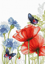 Poppies and Butterflies Cross stich Kit by Luca S