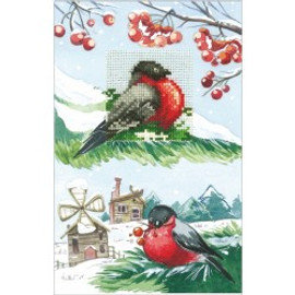 CARDS BULLFINCHES-CROSS STITCH KIT BY ANDRIANA