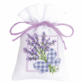 Counted Cross Stitch Kit: Pot-Pourri Bag: Lavender Bow By Vervaco