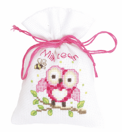 Counted Cross Stitch Kit: Pot-Pourri Bag: Owl Pink By Vervaco