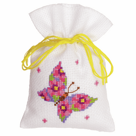 Counted Cross Stitch Kit: Pot-Pourri Bag: Butterfly Pink By Vervaco