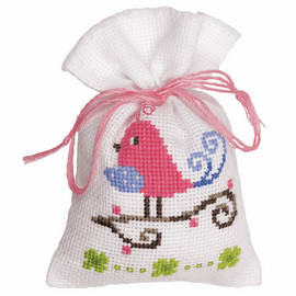 Counted Cross Stitch Kit: Pot-Pourri Bag: Pink Bird By Vervaco