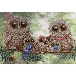 Owl Family Printed Cross Stitch Kit by MP Studia