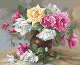 Vase with Roses-cross stitch kit by luca s