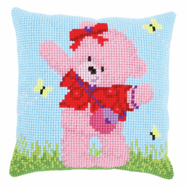 Cross Stitch Cushion Kit: Popcorn Brie & Butterflies By Vervaco