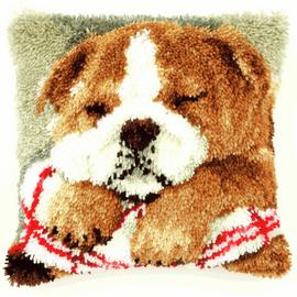 Latch Hook Kit: Cushion: Sleeping Bulldog