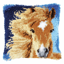 Latch Hook Kit: Cushion: Brown Horse